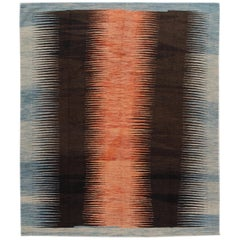 Modern Expressionist Flat-Weave Handmade Wool Rug