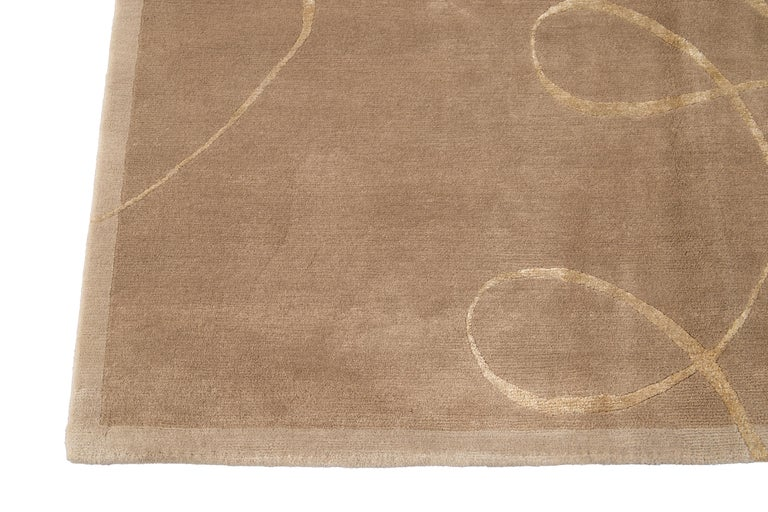 Modern Expressionist Tibetan Handmade Wool Rug For Sale 5