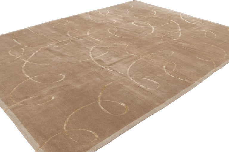 Hand-Knotted Modern Expressionist Tibetan Handmade Wool Rug For Sale
