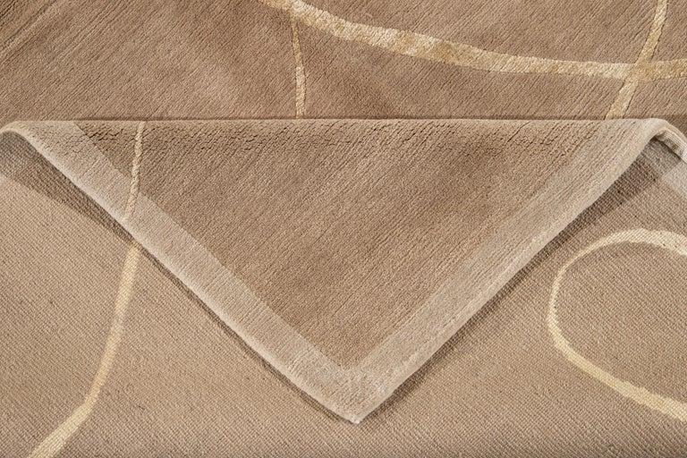 Contemporary Modern Expressionist Tibetan Handmade Wool Rug For Sale