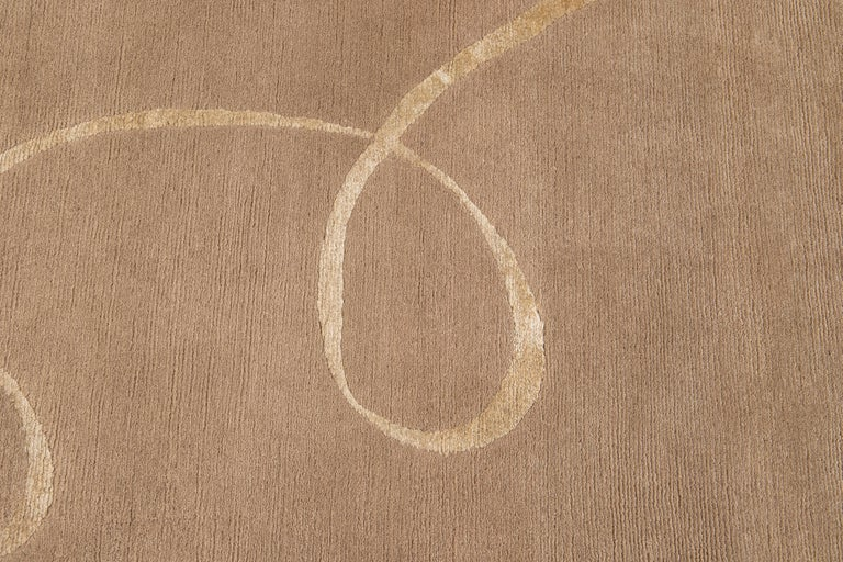 Modern Expressionist Tibetan Handmade Wool Rug For Sale 4