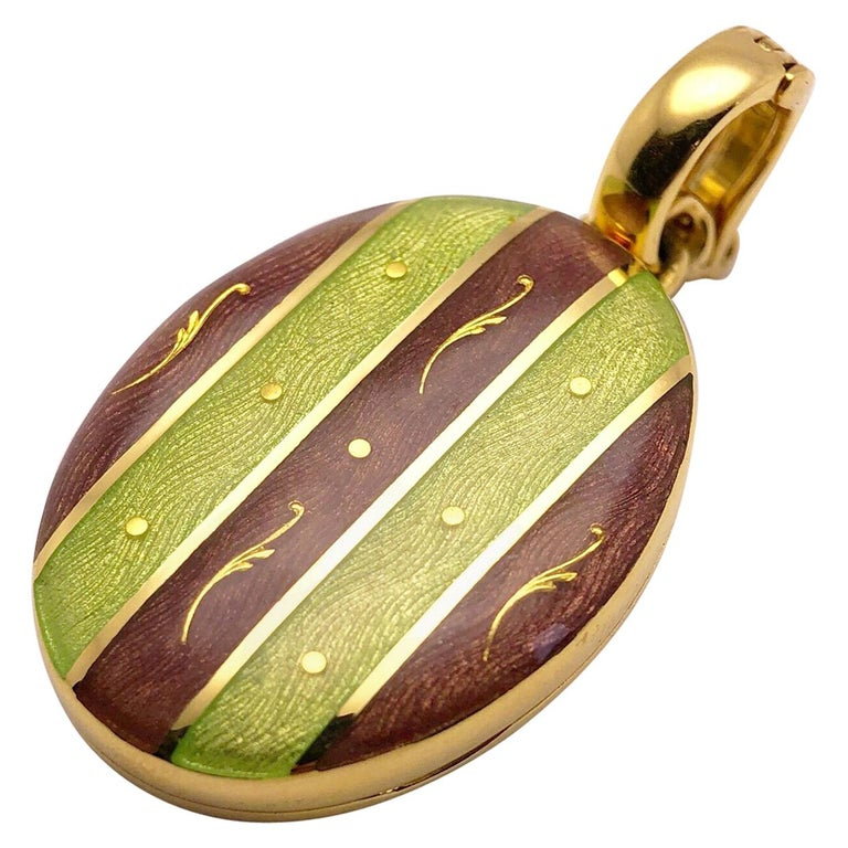 Modern Faberge 18 Karat Gold, Guilloché Enamel Oval Locket with Certificate For Sale