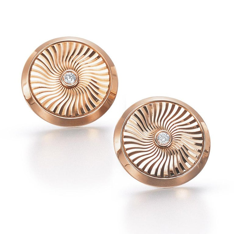 Round Cut Modern Faberge 18 Karat Rose Gold and Diamond Cuff Links with Certificate For Sale