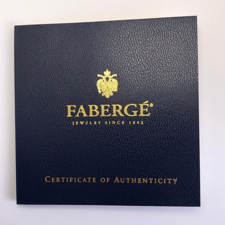 Women's or Men's Modern Faberge 18 Karat Rose Gold and Diamond Cuff Links with Certificate For Sale