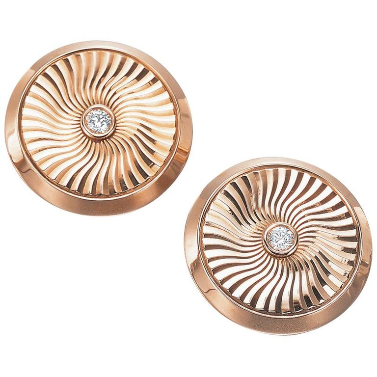 Modern Faberge 18 Karat Rose Gold and Diamond Cuff Links with Certificate For Sale