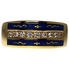 Modern Faberge 18 Karat Yellow Gold and Blue Enamel Ring with Diamond Row