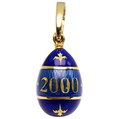 "Modern Faberge 18 Karat Yellow Gold, Guilloche ""2000"" Enamel Egg Pendant"
