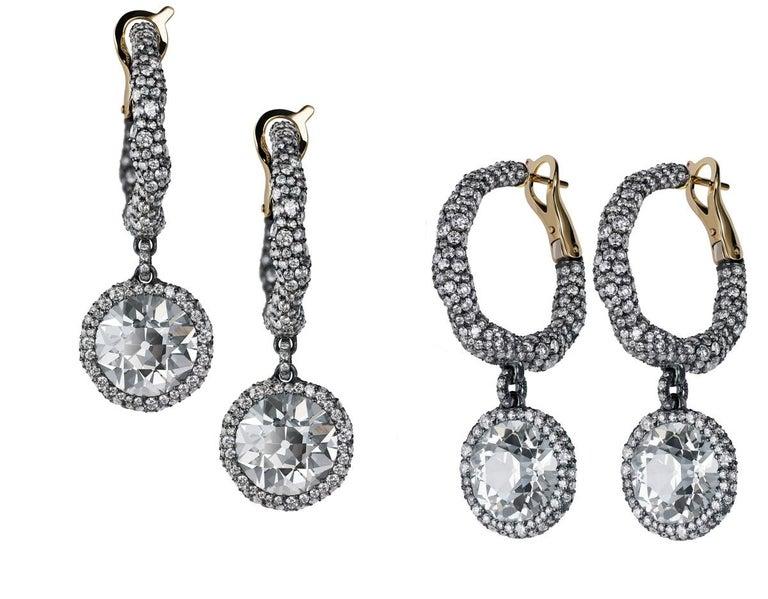 Belle Époque Modern Fabergé Charmeuse Créoles Frédéric Zaavy Diamants Antiques Earrings For Sale