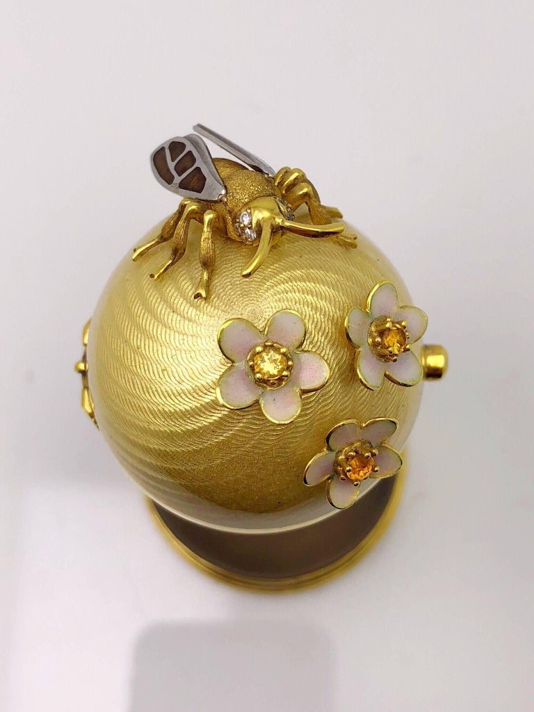 Modern Faberge  Enamel Gold Limited Edition Surprise Bear Egg Made in Germany For Sale 1