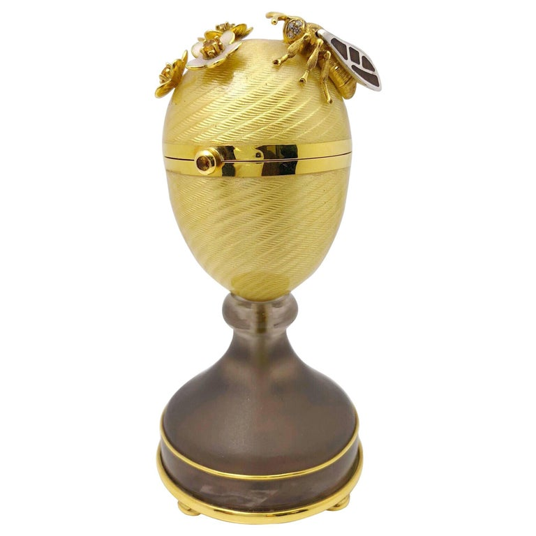 Modern Faberge  Enamel Gold Limited Edition Surprise Bear Egg Made in Germany For Sale