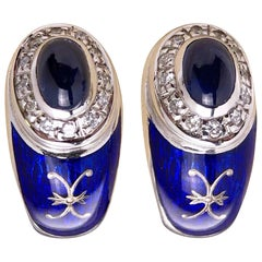 Modern Faberge Gold Diamond Cabochon Sapphire and Enamel Earrings