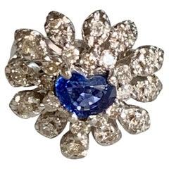 Modern Faceted Heart Cut Blue Ceylon Sapphire & Diamond 14 Karat White Gold Ring