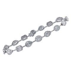 Modern Fancy Shape Diamond Platinum Bracelet