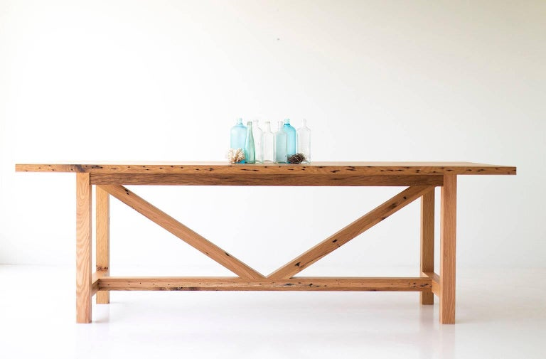 Contemporary Modern Farmhouse Dining Table For Sale