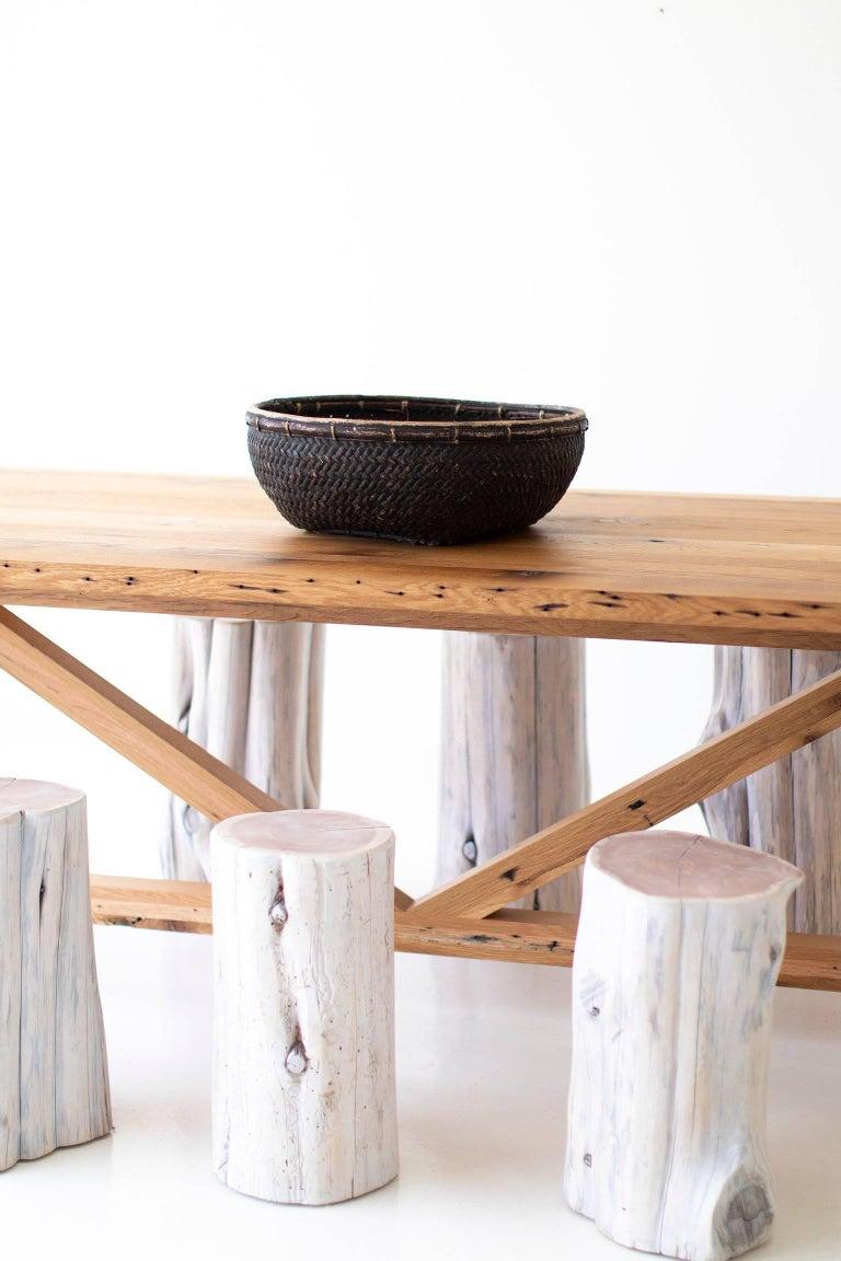 Reclaimed Wood Modern Farmhouse Dining Table For Sale