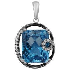 Modern Fashion Blue Cushion Cut Topaz White Diamond White Gold Pendant