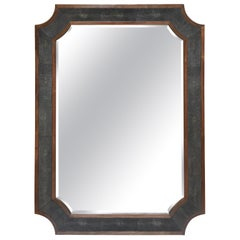 Modern Faux Shagreen and Wood Wall Mirror