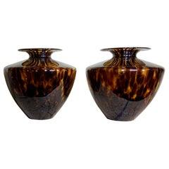 Modern Faux Tortoise Shell Blown Glass, Pair of Vases