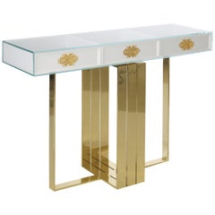 Modern Filigrana Console, Fine Silver Filigree, Polished Brass Base, Glass Top