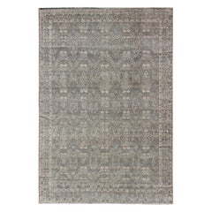 Modern Fine Weave Distressed Tabriz Rug in Taupe, Gray, Blue and Neutral Tones