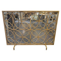 Modern Fire Place Screen in a Gilt Finish