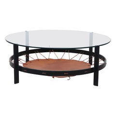 Modern Flat Iron, Metal, Leather and Glass Coffee Table