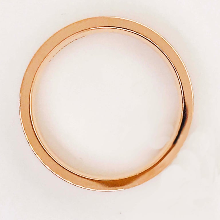 Rose Gold Men's Band Flat Top & Comfort-Fit Men's Wedding Band 14 KT Rose Gold In New Condition For Sale In Austin, TX