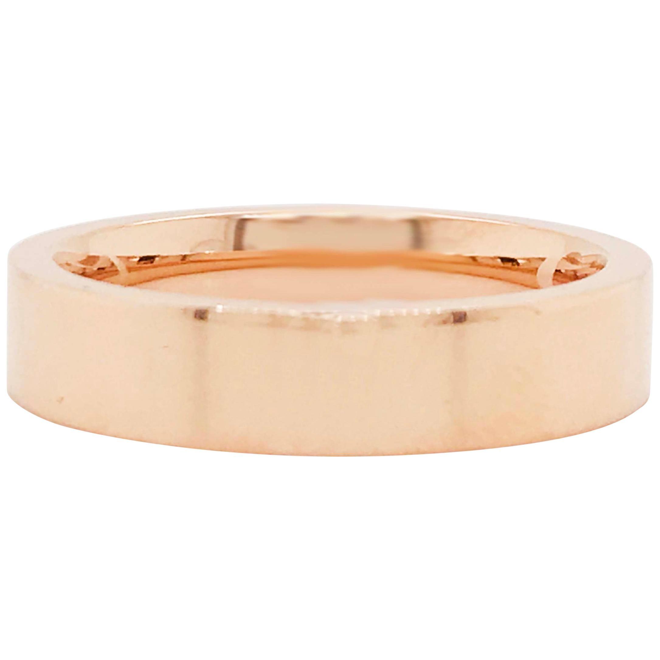 Rose Gold Men's Band Flat Top & Comfort-Fit Men's Wedding Band 14 KT Rose Gold