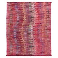 Modern Flat-Weave Abstract Handmade Multicolor Wool Rug