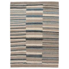 Modern Flat-Weave Kilim Room Size Wool Rug