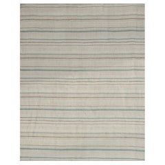 Modern Flat-Weave Kilim Rug in Ivory with Brown and Green Stripes