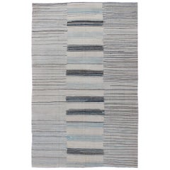 Modern Flat-Weave Kilim Rug in Three Panel Striped Design in Ocean Blue & Taupe