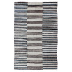 Modern Flat-Weave Large Kilim with Blue, Ivory, Brown and Charcoal Stripes