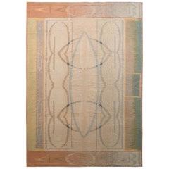 Modern Flat-Weave Rug in Beige and Pink Art Deco Kilim Rug Design