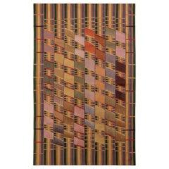 Modern Flat-Weave Rug in Beige-Brown Art Deco Kilim Rug Design