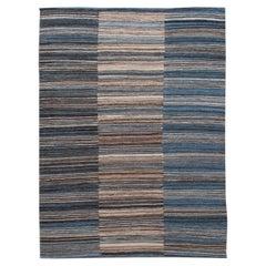 Modern Flat-Weave Handmade Striped Blue Wool Rug