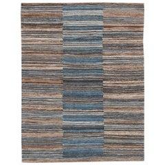 Modern Flat-Weave Handmade Striped Wool Rug