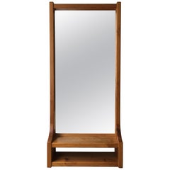Modern Floating Wall Mirror with Shelf by Glas Mäster in Markaryd, Sweden, 1970s