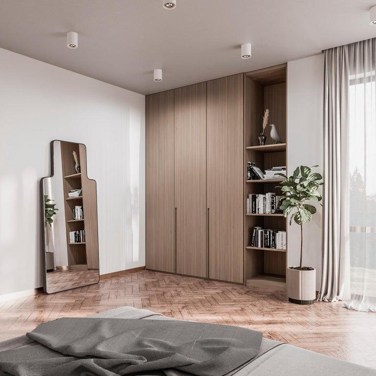 Wood Modern Floor Mirror,