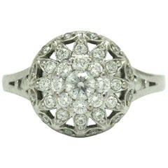 Modern Round Brilliant Diamond Cluster Halo White Gold Floral Engagement Ring