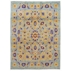 Modern Floral Oushak Handmade Wool Rug