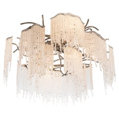 Modern Flush Mount in a Nickel Finish with Crystals, Victoria Collection, by