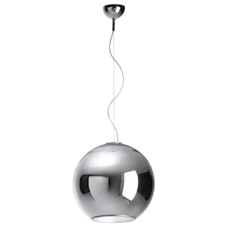 Modern Fontana Arte Globo di Luce Chrome Art Glass Pendant, Roberto Menghi, 1968 For Sale