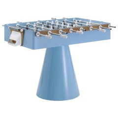 Modern Football Table in Light Blue Capri Iron and Wood Outdoor Indoor