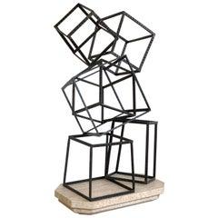 Modern Forged Iron & Travertine Quadrilaterals Sculpture