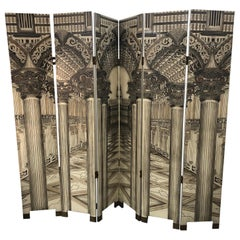 Modern Fornasetti Style 6 Panel Architectural Screen