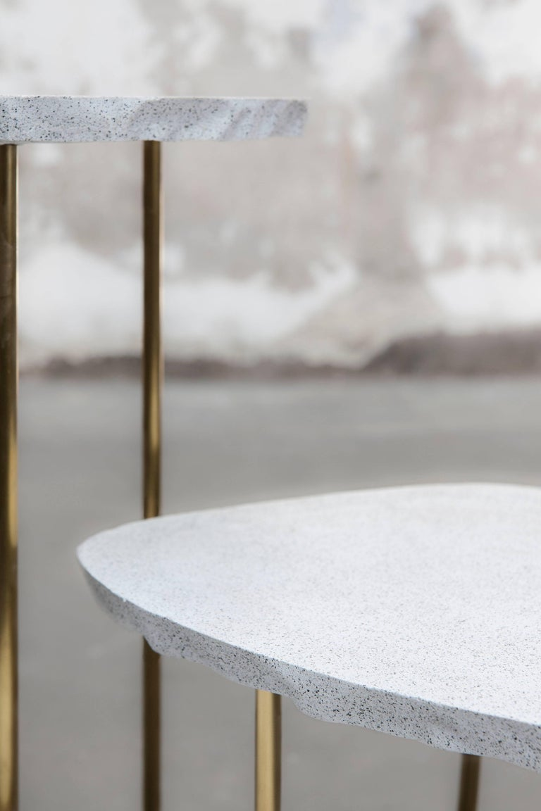 Post-Modern Modern Fossils, Brass and Resin Tables Ensemble For Sale