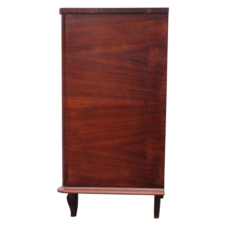 Modern Four-Drawer Italian Parquetry Restored Rosewood Chest In Good Condition For Sale In Houston, TX