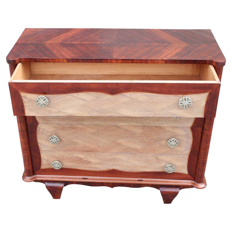 Mid-20th Century Modern Four-Drawer Italian Parquetry Restored Rosewood Chest For Sale
