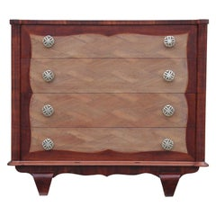 Modern Four-Drawer Italian Parquetry Restored Rosewood Chest